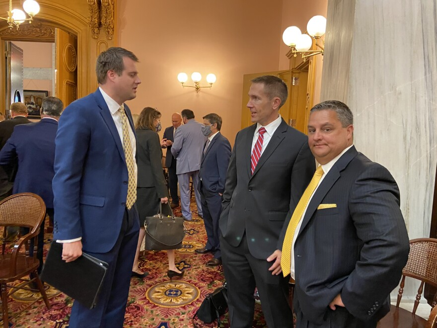 Speaker Pro Tem Jim Butler (R-Oakwood, center), who was a candidate for speaker against Cupp, speaks after session with Reps. Derek Merrin (R-Monclova, left) and Shane Wilkin (R-Hillsboro).
