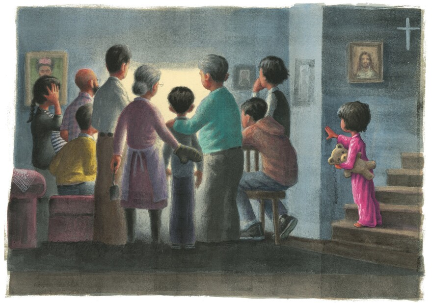 "In Matt de la Peña's <em></em><em>Love, </em>a child comes downstairs to find the whole family gathered around the television. ""When you ask what happened, they answer with silence and shift between you and the screen."" In <em>Love</em>, de la Peña couches fearful moments in the context of love and protection. <em>Text copyright © 2018 Matt de la Peña Illustrations copyright © 2018 Loren Long</em>"