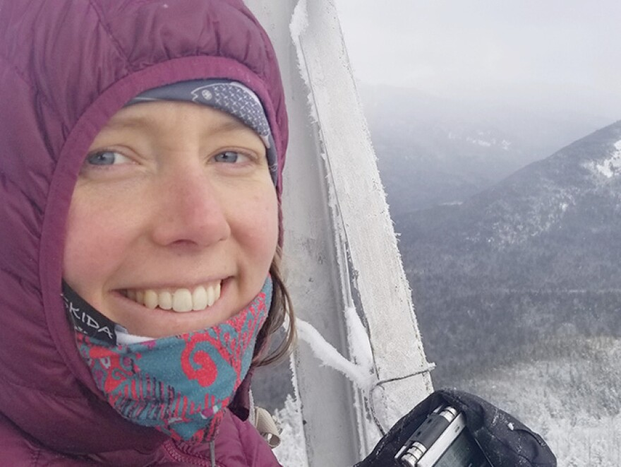 Emily Russell takes in a hard-won view from the Mount Adams fire tower.