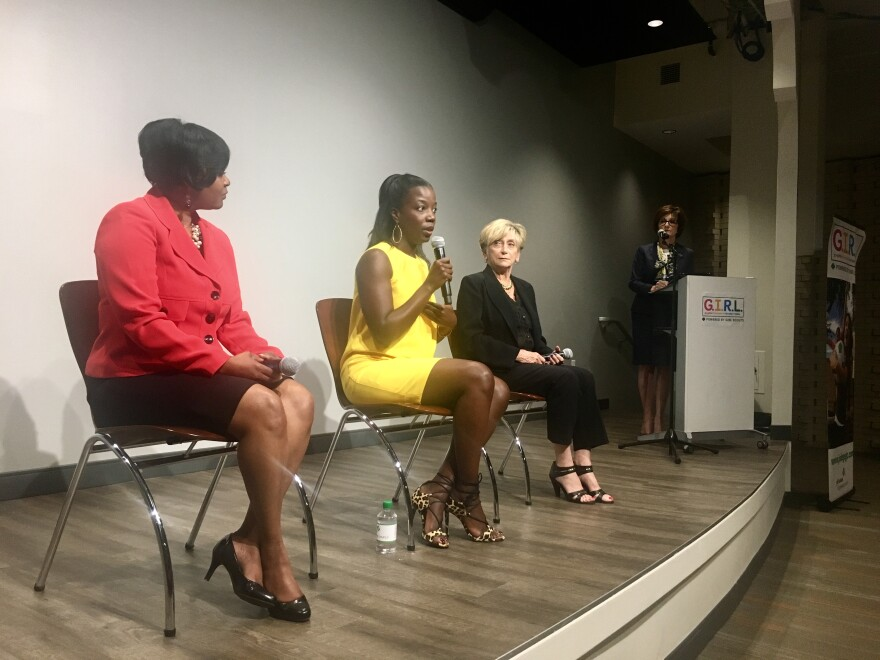 "Panelists Baptist Medical Center South President Nicole Thomas (left), Jacksonville Public Education Fund's Imani Hope and Neptune Beach Mayor Elaine Brown talk about the ""State of Girls"" report Tuesday."