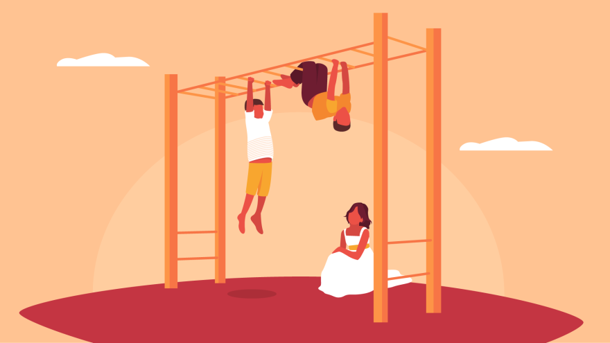 Boys climb on monkey bars, but the girl in the pic can't because she's wearing a dress.