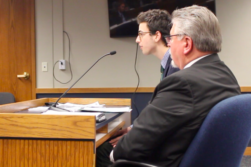 Jack Rintoul, The Kirkwood Call editor-in-chief, testifying in favor of the Cronkite New Voices Act in February, alongside bill sponsor Rep. Craig Fishel.
