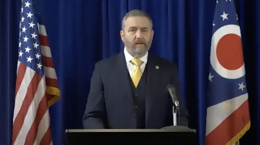 Screen shot of Attorney General Dave Yost speaking at the 2021 human trafficking summit.