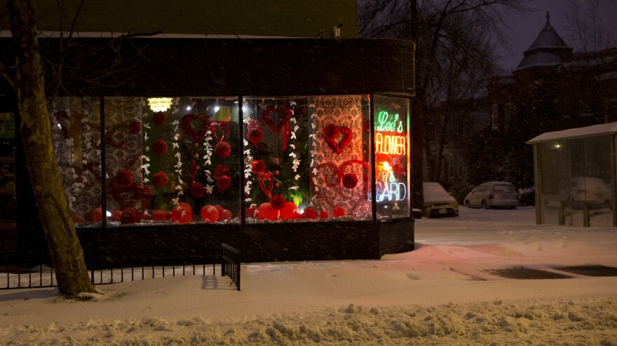 Snow falls past a Valentine's Day display inside Lee's Flower & Card Shop in the early morning in Washington, D.C., on Thursday.