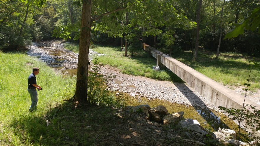 A nameless creek winds between Miami Township and Loveland in Clermont County.