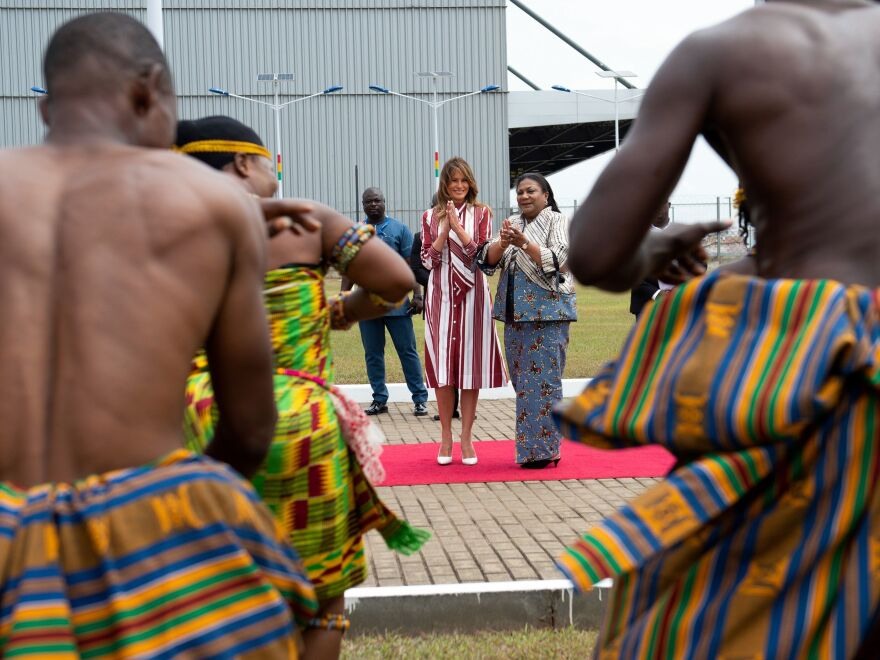 First lady Melania Trump and Rebecca Akufo-Addo, the first lady of Ghana, watch traditional dancers after Trump landed in Accra to start her weeklong trip in Africa.