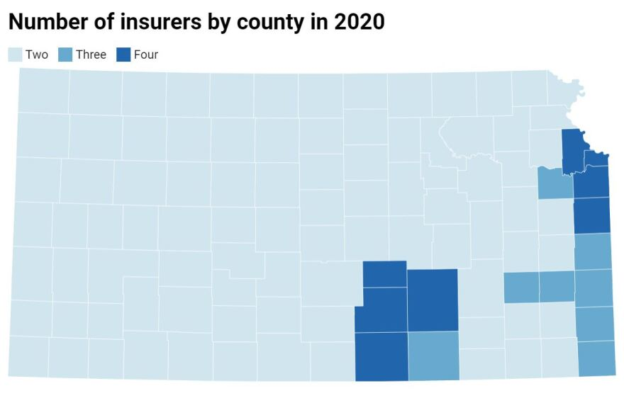 A map shows counties had more insurance choices in 2020 than in 2019. (Graphic by Celia Llopis-Jepsen, created with Datawrapper)