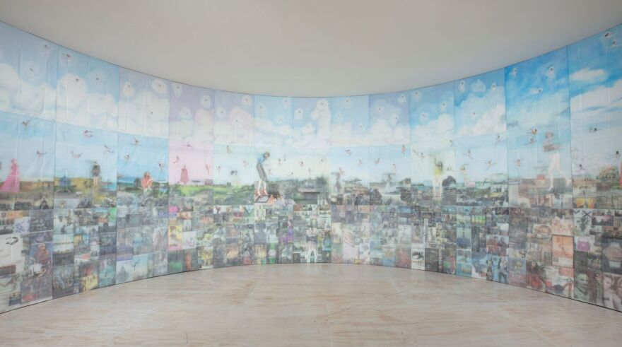 Installation view of Jesse Krimes, <em>Apokaluptein 16389067 </em>(2010–2013) in the exhibition <em>Marking Time: Art in the Age of Mass Incarceration</em>.