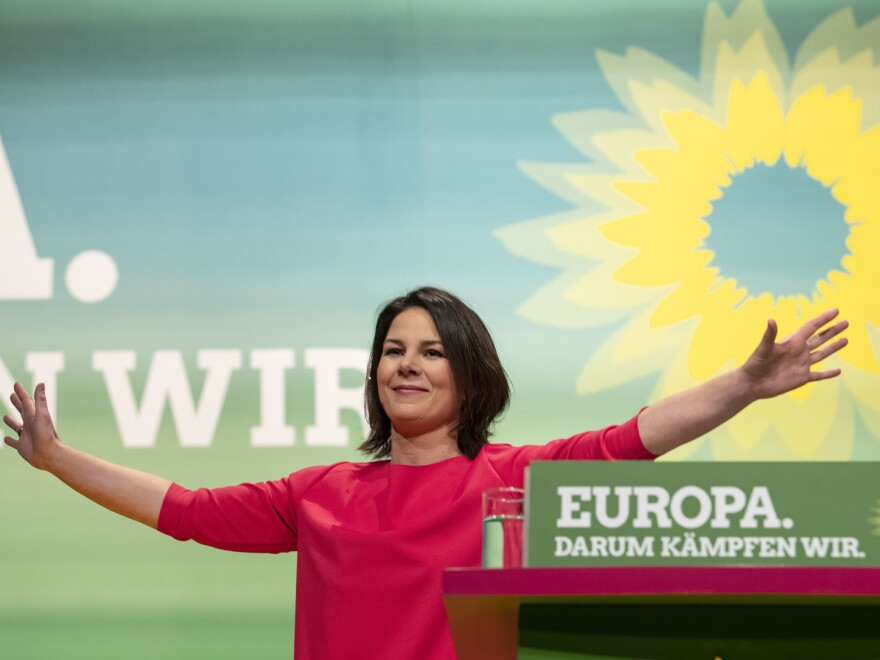 Annalena Baerbock, co-chairwoman of the Green party, gestures during her speech at the party convention in Leipzig, Germany, in November.