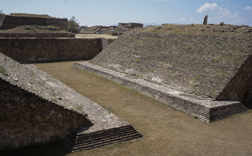 A view of the ballgame court at the Monte Albán archaeological site in Mexico's southern state of Oaxaca.