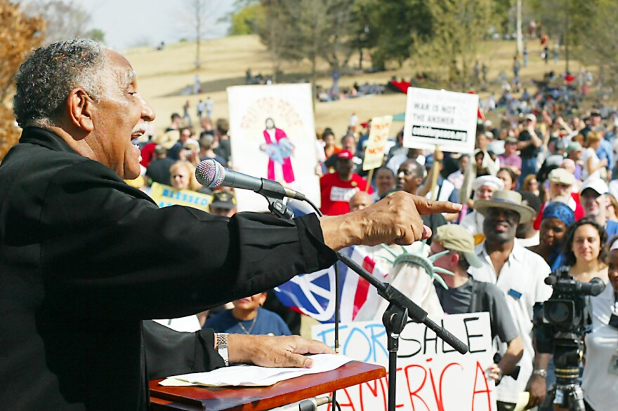 The Rev. Joseph Lowery speaks out against the war in Iraq during a rally in Piedmont Park in Atlanta on Saturday, April 1, 2006. The Rev. Lowery's remarks against the war and the Bush administration at the funeral of Coretta Scott King in February drew criticism.