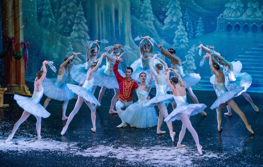 """Waltz of the Magical Snow Forest scene in Moscow Ballet's """"Great Russian Nutcracker."""""""