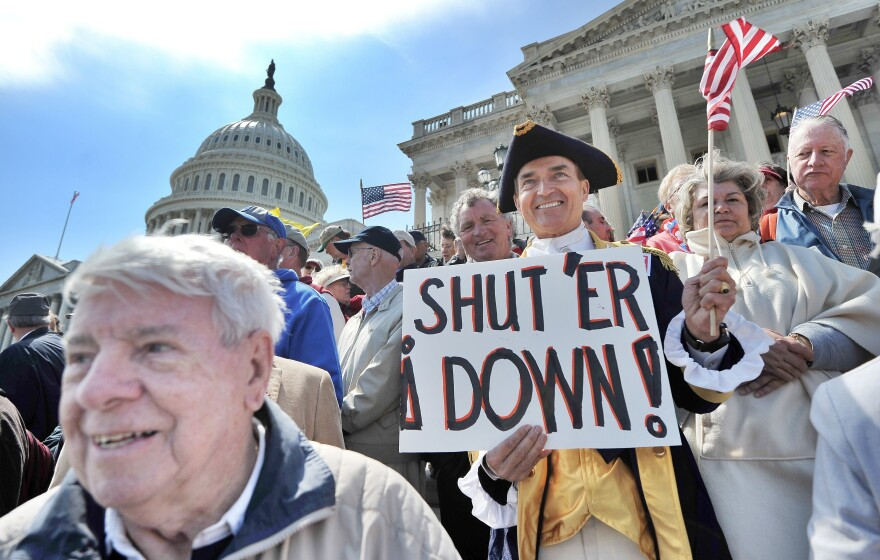 Protesters urging a government shutdown and spending cuts demonstrate in front of the U.S. Capitol in 2011.