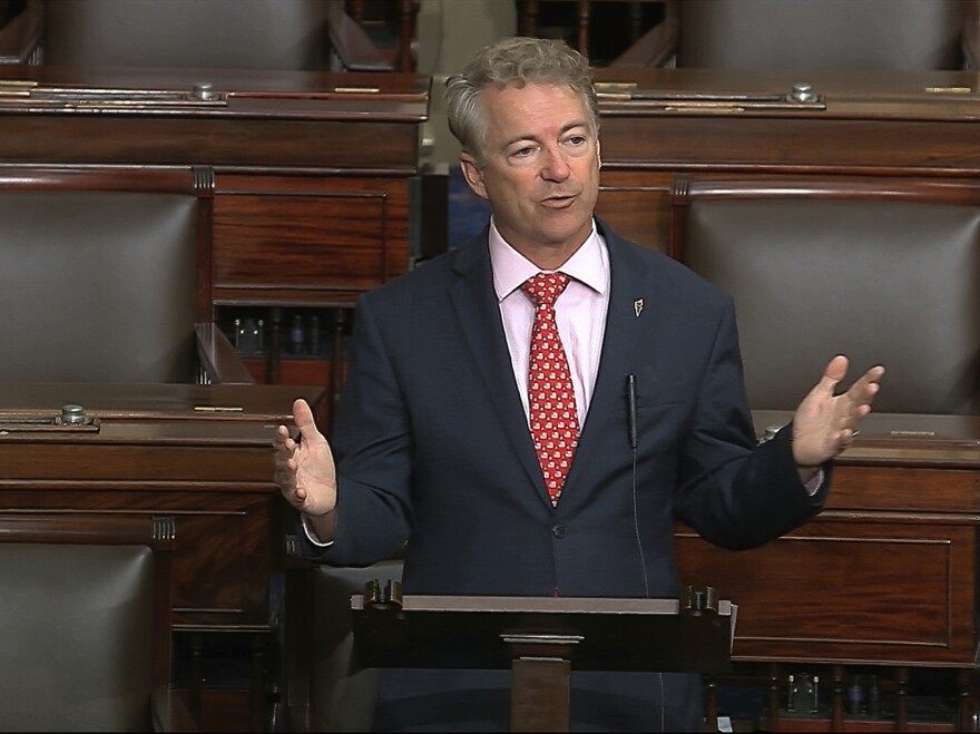 In this image from video, Sen. Rand Paul, R-Ky., speaks on the Senate floor at the U.S. Capitol in Washington, D.C., on Wednesday. Paul announced Sunday that he had tested positive for the novel coronavirus.