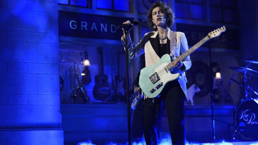 """SATURDAY NIGHT LIVE — """"Will Ferrell"""" Episode 1774 — Pictured: Musical guest King Princess performs """"1950"""" on Saturday, November 23, 2019 — (Photo by: Will Heath/NBC/NBCU Photo Bank via Getty Images)"""
