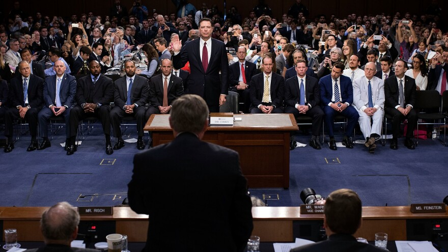 Former FBI Director James Comey is sworn in before testifying before the Senate intelligence committee on Capitol Hill on June 8, 2017, in Washington, D.C.