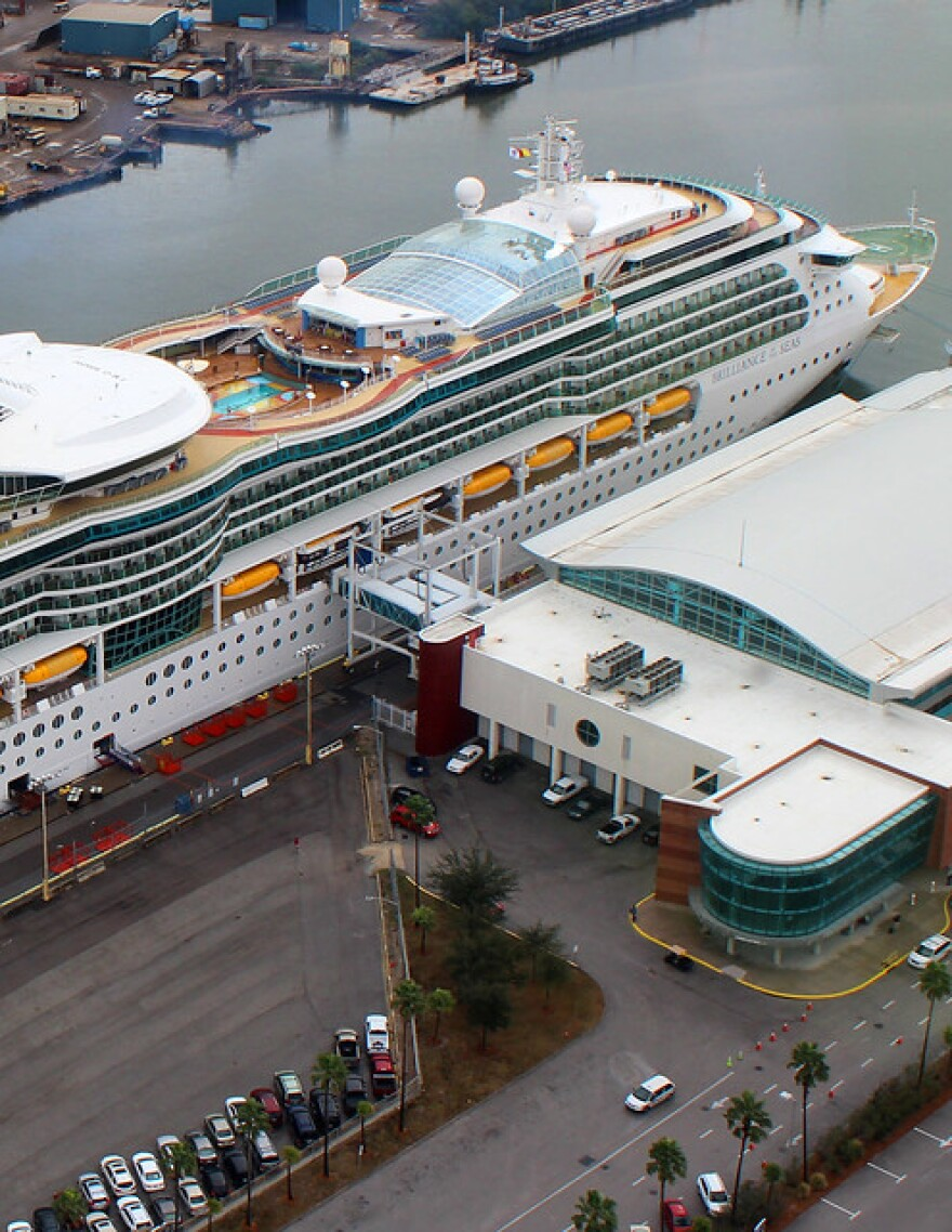 Royal Caribbean's Brilliance of the Seas stopped at Port Tampa Bay awaiting cruisers.