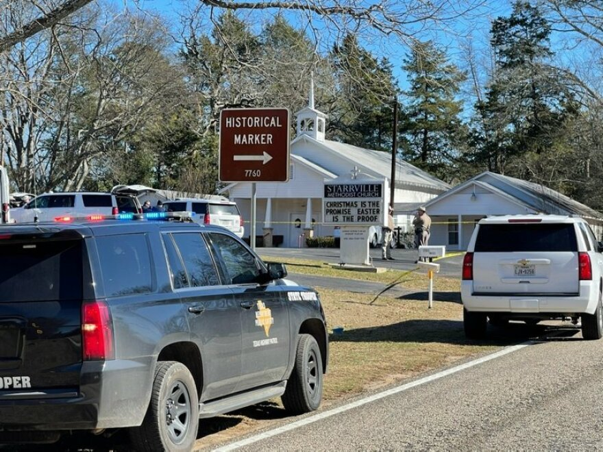 The Smith County Sheriff's Office investigates a fatal shooting incident at the Starrville Methodist Church  on Sunday morning, Jan. 3, 2021. A suspect who fled has been arrested, said the sheriff's office.