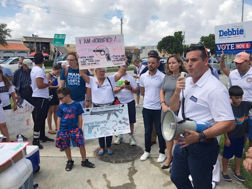 Elected officials and other activists protested on Saturday against gun shows at the Miami-Dade County Youth Fair and Exposition center.