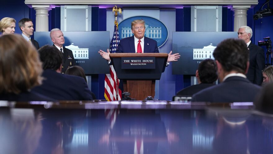 President Trump speaks during the daily briefing on the coronavirus Monday.