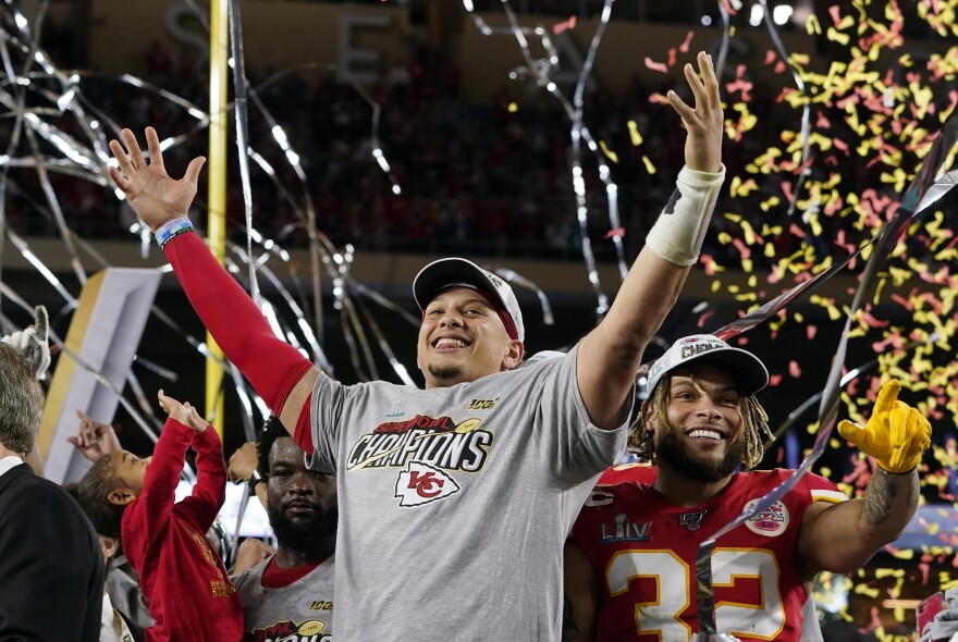 Kansas City Chiefs quarterback Patrick Mahomes, left, and Tyrann Mathieu celebrate after defeating the San Francisco 49ers in Super Bowl LIV on Sunday in Miami.