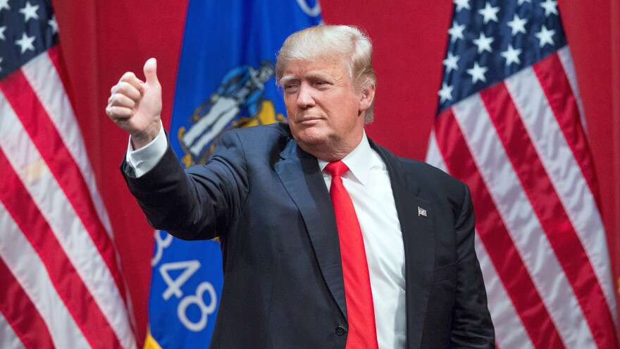Donald Trump speaks during a campaign rally Wednesday at St. Norbert College in De Pere, Wisconsin. Trump's comments about abortion during an MSNBC interview Wednesday outraged abortion rights opponents and advocates alike.