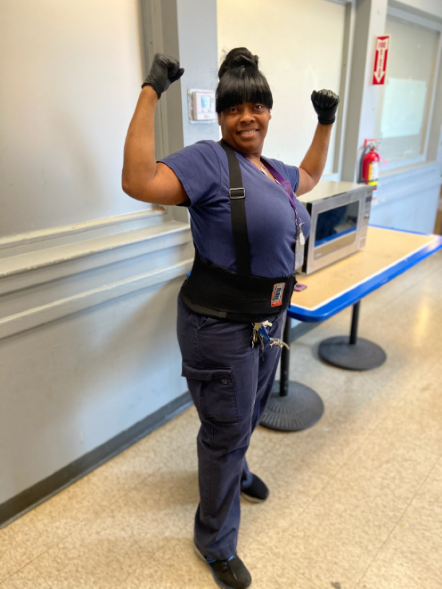 Custodial worker Sandra Ellington is a member of the Service Employees International Union.