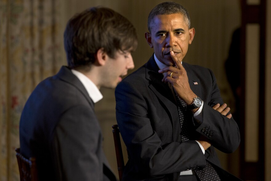 President Obama listens to a question read by Tumblr founder and CEO David Karp during a Tumblr forum Tuesday.