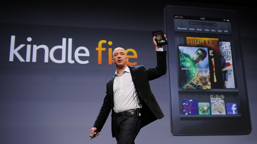 Amazon CEO Jeff Bezos introducing the new Kindle Fire tablet in New York this morning.