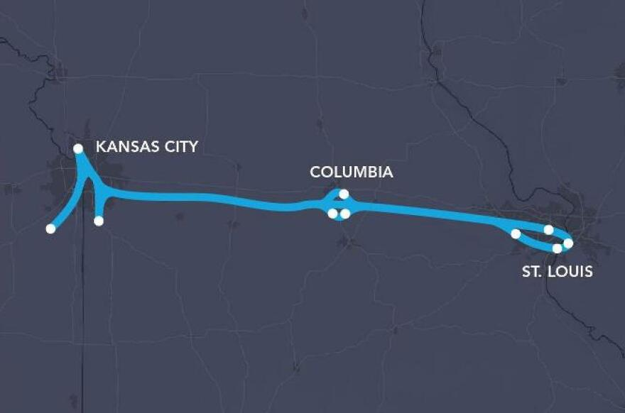 A proposed hyperloop transportation system would connect Missouri's two major metropolitan hubs.