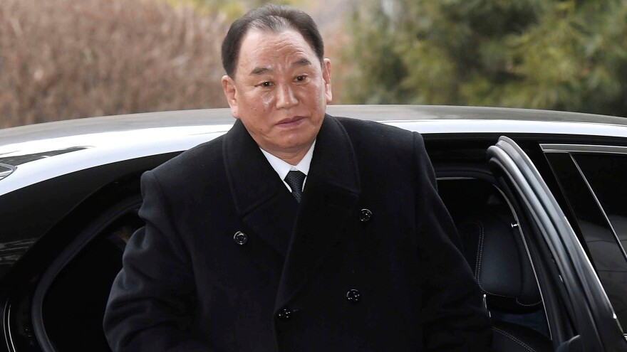 Kim Yong Chol, vice chairman of North Korea's ruling Workers' Party Central Committee, arrives at the Korea-transit office near the Demilitarized Zone dividing the two Koreas in February. President Trump confirmed Tuesday that Kim is headed to New York discuss a possible summit with Kim Jong Un.