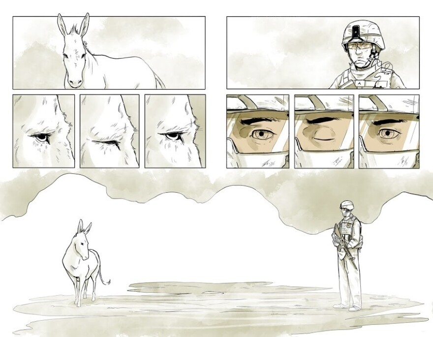 """Maximilian Uriarte wrote and illustrated <em>The White Donkey</em>, a graphic novel that highlights the tedium of deployment. """"I think you can get a lot more nuance, a lot more meaning out of a story that isn't based in some kind of grand battle,"""" he says."""