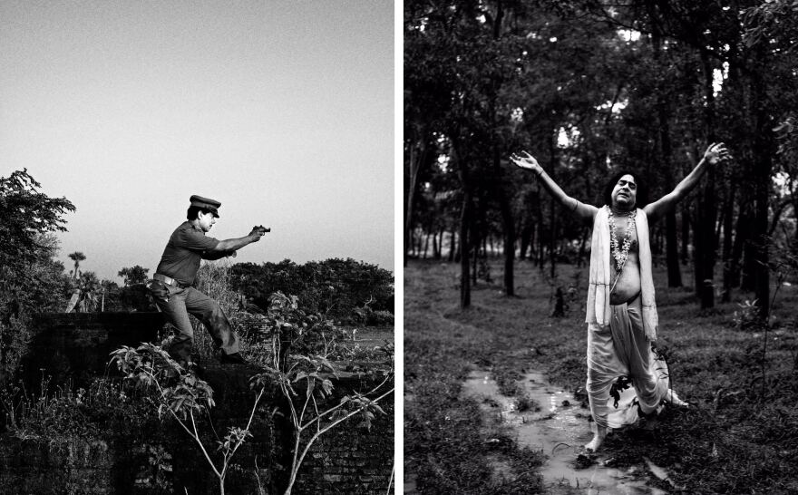 (Left) The photographer's uncle, Shyamal Dihidar, 51, poses for a portrait as a police officer in Gokulpore, India. (Right) Pradip Kumar Pal, 59, was famous for his performance as Sri Chaitanya Mahaprabhu. He now runs a stationery shop.