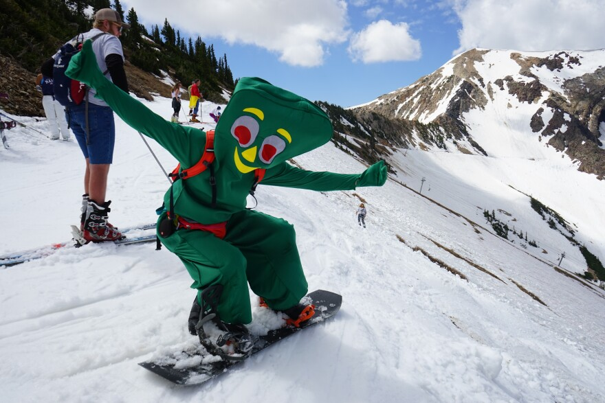 Photo of skier in costume.