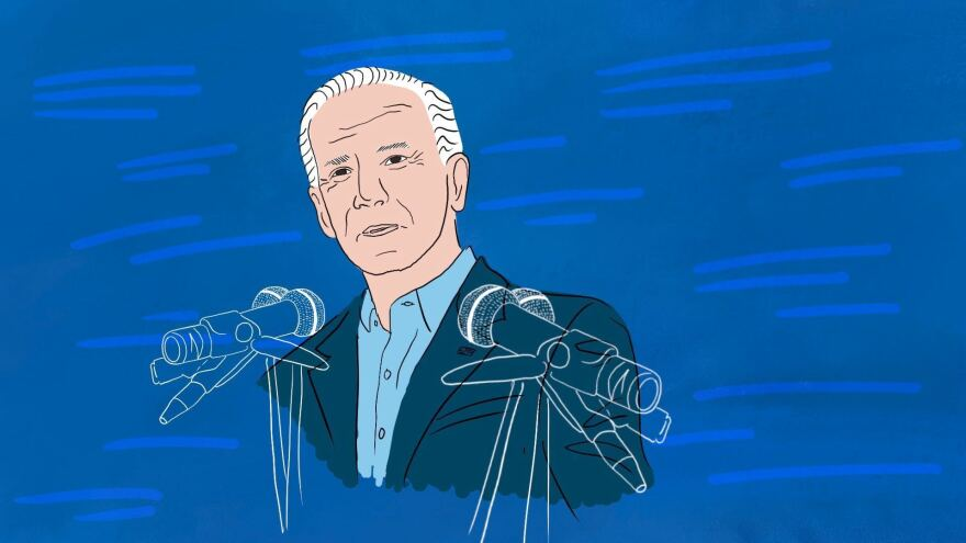 Joe Biden gives his inaugural address on Wednesday.
