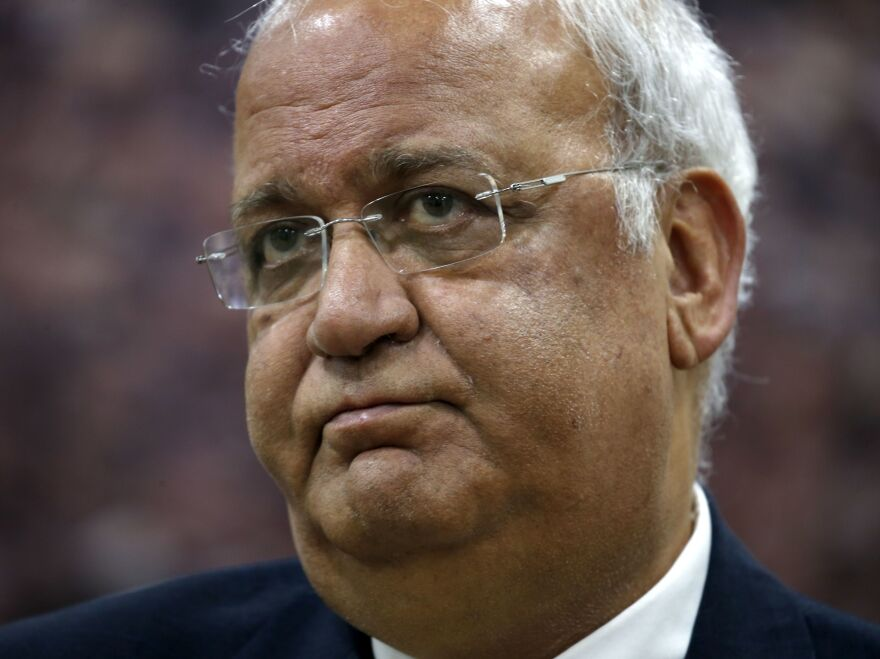 Saeb Erekat, Secretary-General of the Palestine Liberation Organisation and chief Palestinian negotiator, talks to reporters in the West Bank city of Ramallah in March. Erekat is being treated in a Jerusalem hospital after contracting COVID-19.