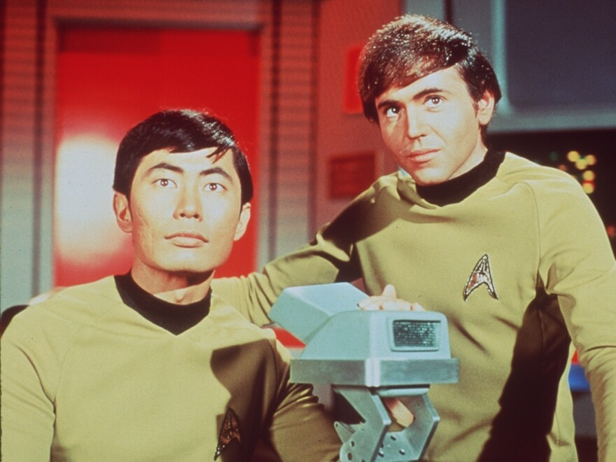 George Takei as Sulu (left) and Walter Koenig as Chekov in the original <em>Star Trek </em>series. The franchise has spun off a bounty of shows, but the last one came off the air a decade ago. One fan has a plan for the next installment.