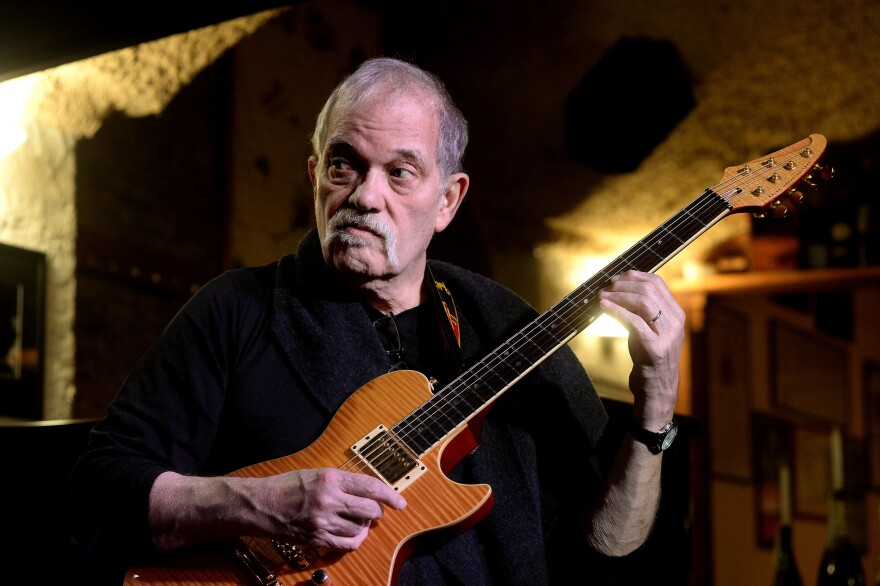 Guitarist musician and author John Abercrombie performs in concert with his Organ Trio for Bologna Jazz Festival on Nov. 16, 2014 in Bologna, Italy.