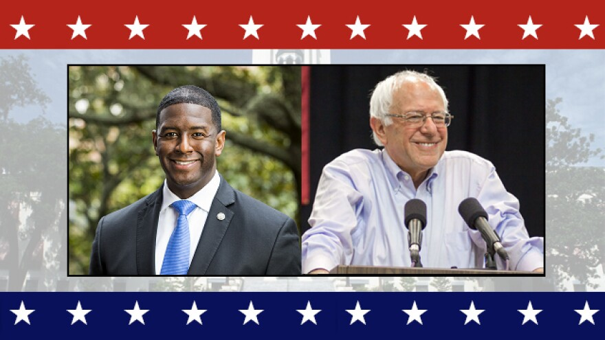 Tallahassee Mayor Andrew Gillum (left) and Sen. Bernie Sanders.