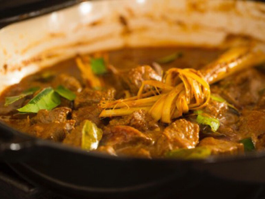 Lots of meats can be used in rendang — chicken, beef, goat, duck, lamb, pork — or even potatoes or tofu. Above, a beef rendang.