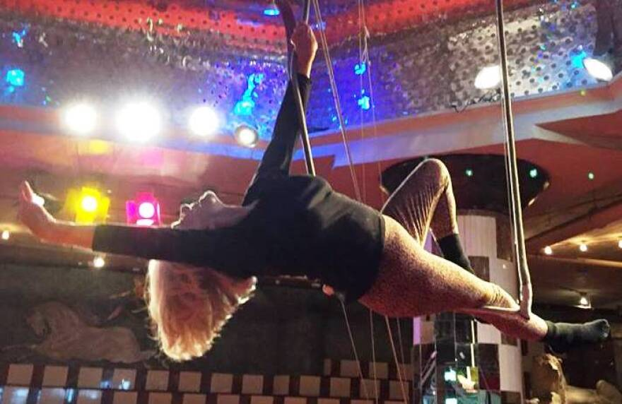 Elizabeth Herring, who turned 90 on Oct. 26, practives for her trapeze show in this photo taken in October of 2016.