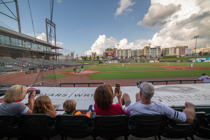 Dozens of fans turned out to watch the Red Sox amateur baseball team tangle with the Yankees at Regions Field in Birmingham, Ala. The teams are part of an over-35 league showcasing their skills at a ballpark normally used by the Birmingham Barons minor league baseball team.