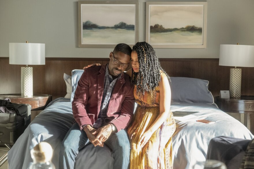 It may sound odd to highlight fictional stories about grief at a time when so much of the real thing is around. But experts say there is catharsis in seeing someone struggle with familiar feelings. Above, Sterling K. Brown as Randall and Susan Kelechi Watson as Beth in NBC's <em>This Is Us.</em>