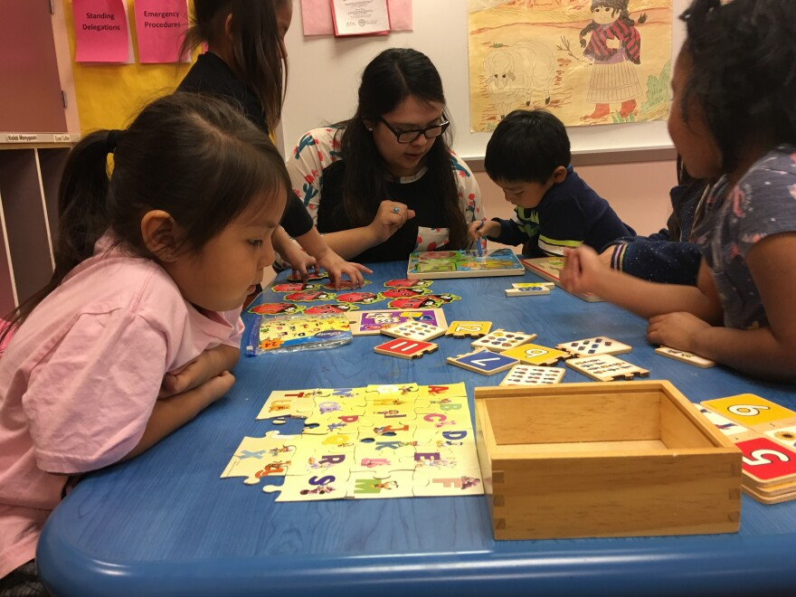 Teacher Shanelle Yazzie works with children at a Head Start facility on the Navajo Nation. Funds to keep the Head Start programs running are slow to reach these facilities during the federal government shutdown.
