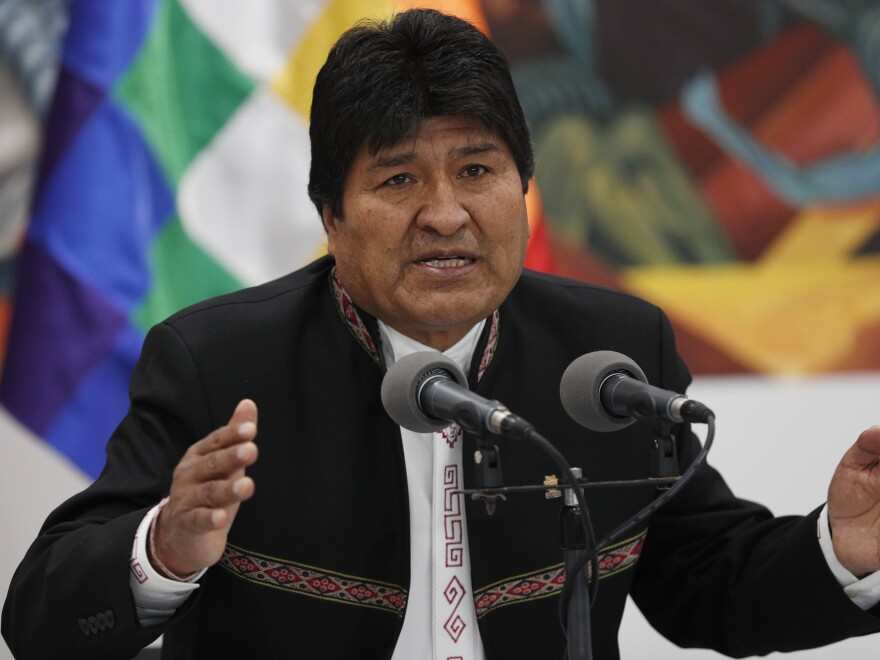 Bolivia's President Evo Morales speaks during a news conference at the presidential palace in La Paz, Bolivia, on Wednesday.