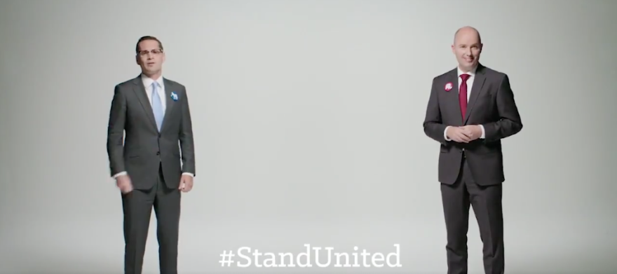 A screenshot of the Stand United ad from Chris Peterson and Spencer Cox.