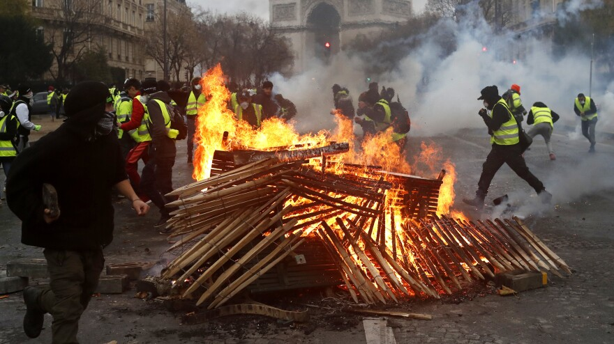 More than 350 people were arrested in demonstrations Saturday in Paris. The protests began on November 17th over a hike in gas prices.