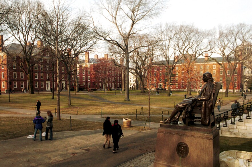 People walk through the University's iconic Harvard Yard. This week, a faculty study that secretly photographed students to monitor their attendance in lectures has come under fire.