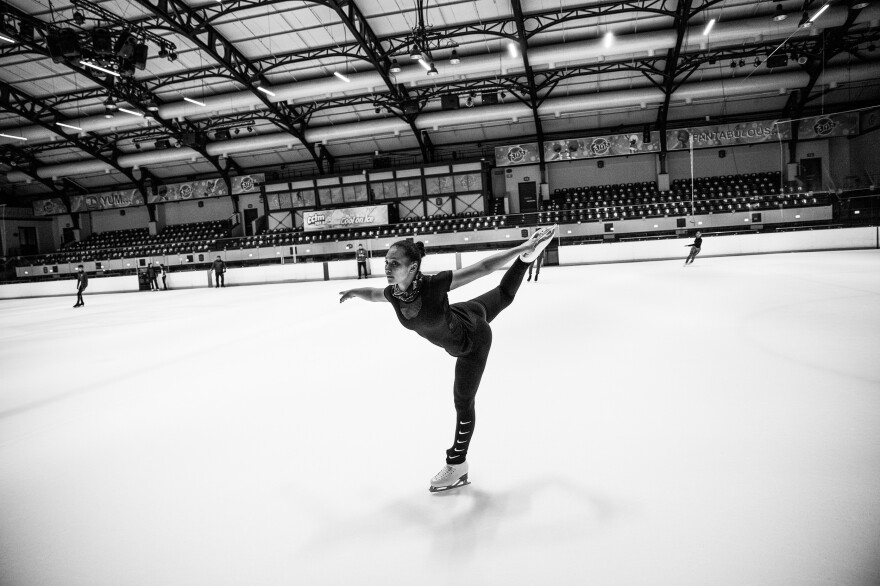 Figure skater Gian-Quin Isaacs practices at a rink in Cape Town, South Africa.