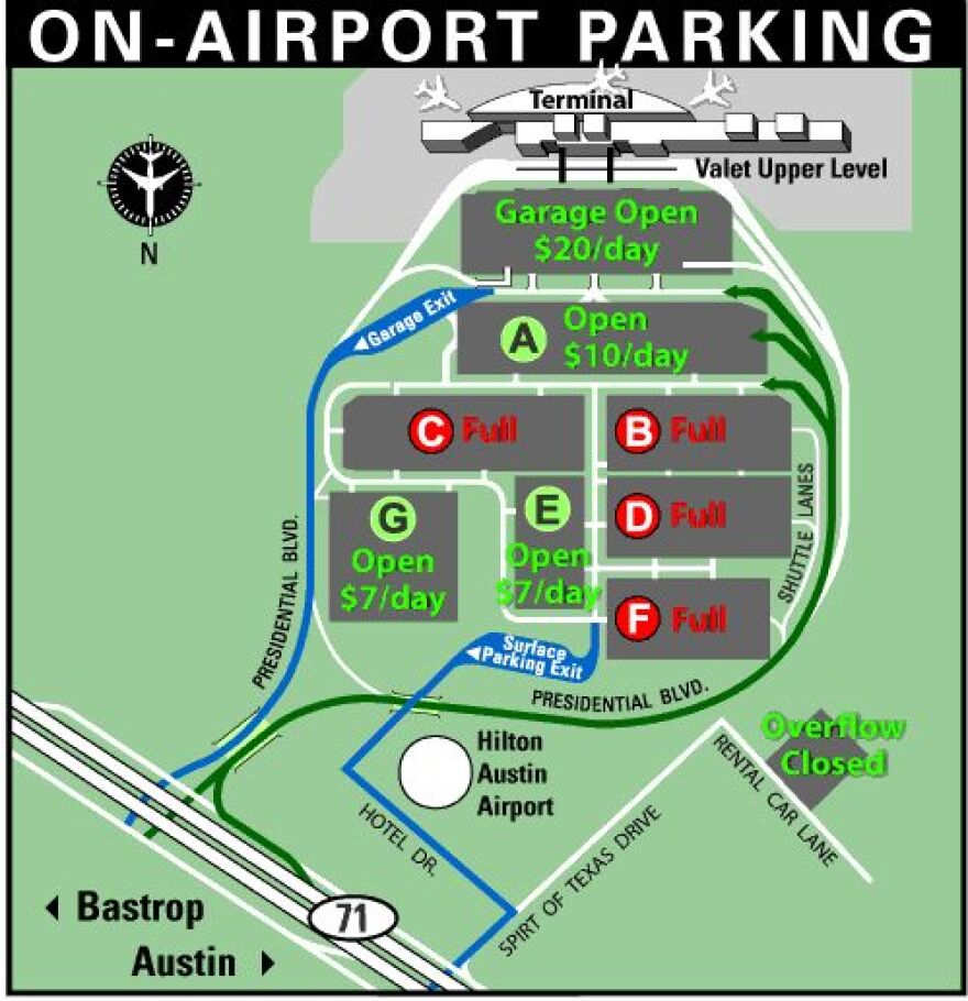 ABIA Parking Map at 12:30pm, Dec. 22
